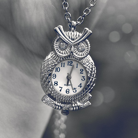 Фото Антикварные серебряные часы в виде совы на цепочке, фотограф simoendli