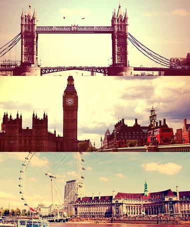Фото Лондон, Биг-Бен (Big Ben), колесо обозрения, мост