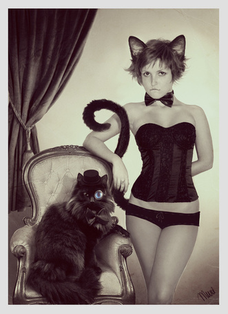 Фото Девушка-кошка и чёрнй кот в пенсне и шляпе (© alcatel), добавлено: 28.08.2011 01:04