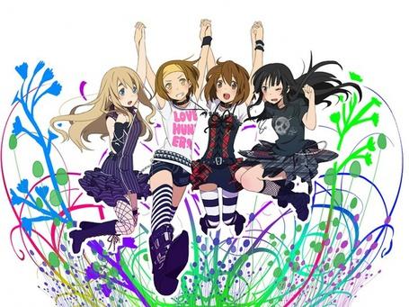 Фото Девочки из аниме 'K-on' на фоне цветочной абстракции