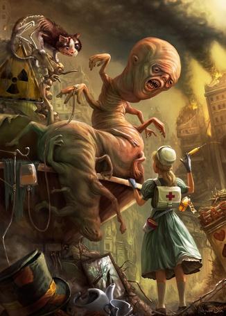 Фото Такая разная... Алиса в Стране Чудес-Мир после ядерной катастрофы, Алиса лечит мутантов (© Anatol), добавлено: 31.08.2011 19:08
