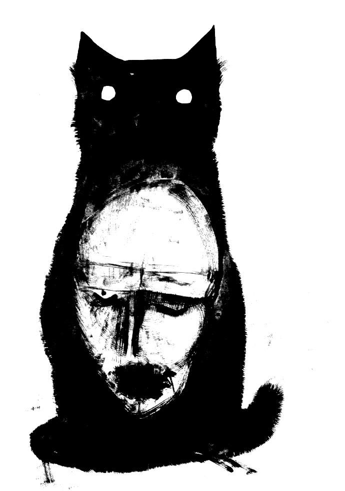 Фото Черный кот с мужским лицом на груди