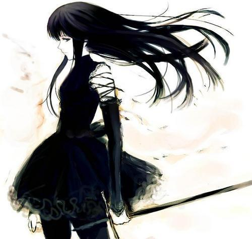 картинки аниме с черными волосами: