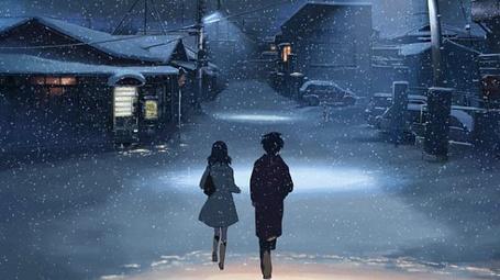 Фото Парочка снежным вечером (аниме '5 сантиметров в секунду')