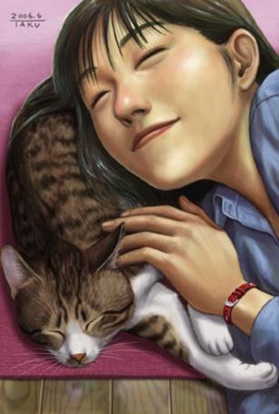 Фото Мальчик играет с котёнком (© Юки-тян), добавлено: 04.09.2011 00:33