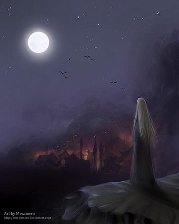 Фото Девушка смотрит на Луну (Art by Mezamero) (© Юки-тян), добавлено: 04.09.2011 11:51