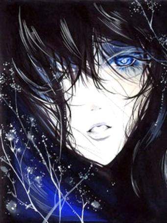 Фото Девушка с длинными черными волосами и синими глазами