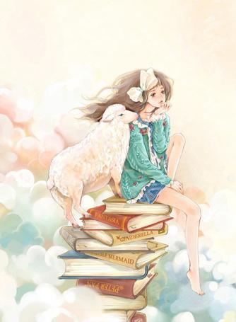 Фото Девушка сидит на книгах с овцой (© Штушка), добавлено: 08.09.2011 17:52