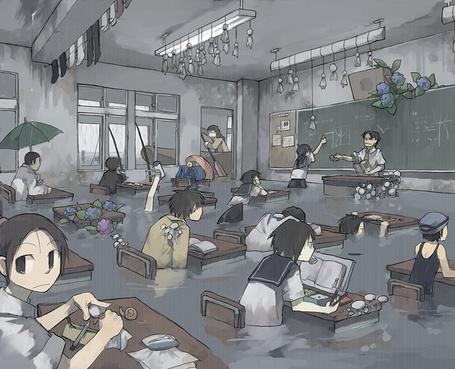 Фото Дети занимаются в классе по пояс в воде