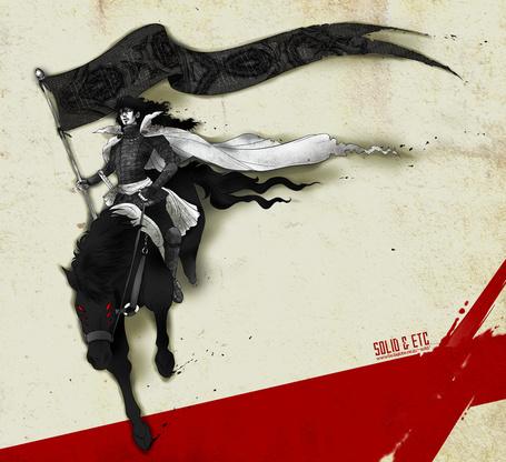 Фото Алукард на коне из аниме 'Хеллсинг / Hellsing' (SOLD&ETC)