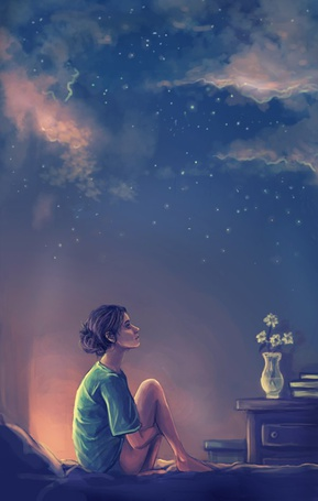 Фото Девушка, сидя на кровати, мечтательно смотрит на ночное небо (© Anatol), добавлено: 09.09.2011 15:02
