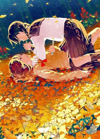 Фото Две девушки пытаются убить друг друга лёжа на листьях клевера (© D.Phantom), добавлено: 11.09.2011 00:10