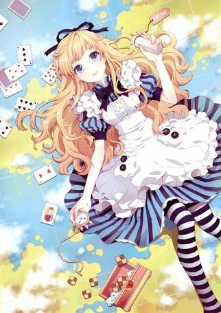 Фото Alice / Алиса с баночкой уменьшающего раствора и часами в руках (eat me), из игры Lord of Vermilion, art by Nardack (© Юки-тян), добавлено: 11.09.2011 11:56