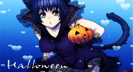 Фото Неко-девушка с тыквой (Halloween)