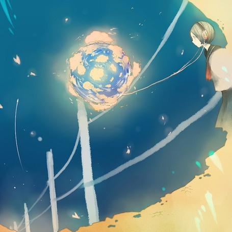 Фото Девушка смотрит на странный светящийся шар соединённый с проводом от её наушников