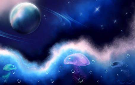 Фото Космос и море, в котором плавают медузы