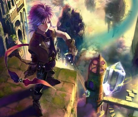 Фото Парень стоит на высокой кирпичной стене возле замка в фантастическом городе и пускает летающие кристаллы (© D.Phantom), добавлено: 14.09.2011 01:28