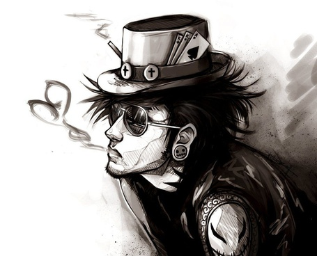 Фото Парень-неформал в шляпе и темных очках выпускает струю дыма в виде сердечка, иллюстратор Ninjatic (© Шепот_дождя), добавлено: 15.09.2011 01:42