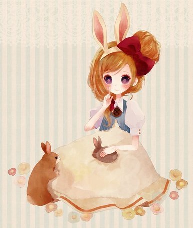 Фото Девочка с кроличьими ушками с кроликами (© Юки-тян), добавлено: 15.09.2011 16:47