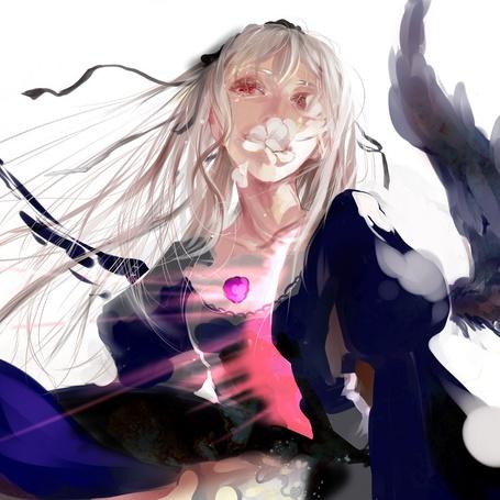 Фото Суигинто из аниме 'Rozen Maiden' в слезах с лепестками во рту