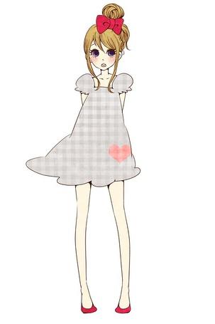 Фото Девушка в платье в клеточку (© Юки-тян), добавлено: 16.09.2011 16:07