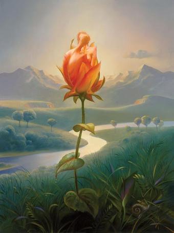 Фото Цветок на фоне неба и гор