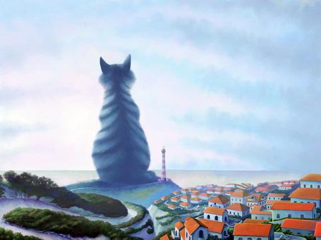Фото Пейзаж с голубой кошкой (© Хоро), добавлено: 20.09.2011 14:35