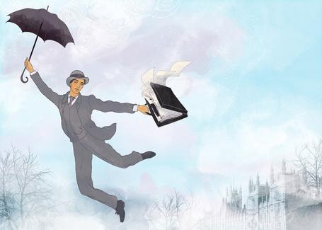 Фото Мужчина с зонтиком летит по небу над лондоном (© D.Phantom), добавлено: 22.09.2011 10:27