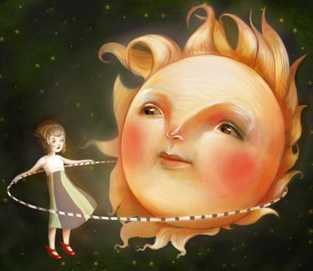 Фото Девочка играет с солнышком