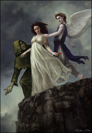 Фото Злобный колдун заколдовал девушку и пытается уговорить её броситься вниз со скалы, но ангел прилетел спасти её