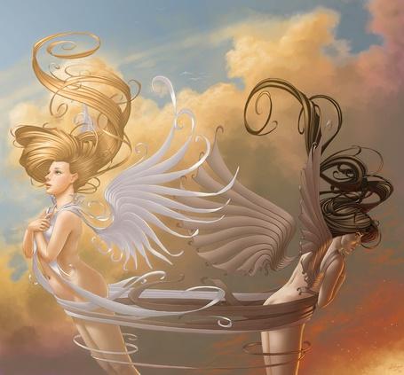 Фото Тёмный и Светлый ангелы в одной связке (© Anatol), добавлено: 23.09.2011 14:33