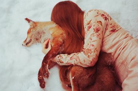 Фото Рыжеволосая девушка лежит в обнимку с лисой на снегу (© Радистка Кэт), добавлено: 24.09.2011 19:21