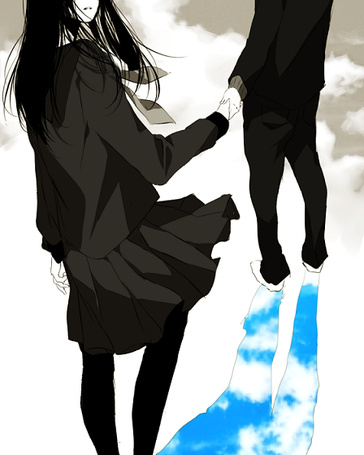 Фото Девушка и парень идут по небу, держась за руки