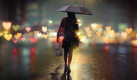 Фото Девушка под дождём ночью
