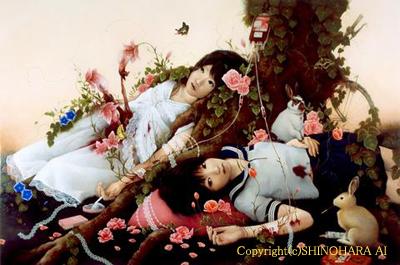 Фото Двум японкам, лежащим у корней дерева, через которых прорастают цветы делают переливание крови. Около них сидя кролики (Copyright (c) SHINOHARA AI)