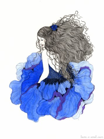 Фото нарисованная девушка с длинными