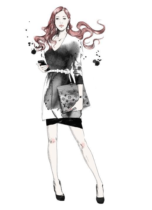 Фото нарисованная девушка с бордовыми