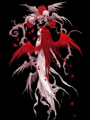 Фото Девушка-демон с красными крыльями стоит у арки из черепов и роз