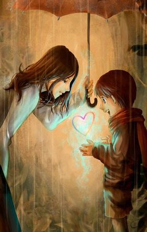 Фото Девушка держит зонтик и рассматривает сердце которое держит в руках маленький мальчик
