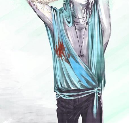 Фото Парень с пятном крови на кофте и кулоном на шее (© Lola_Weazlik), добавлено: 03.10.2011 21:51