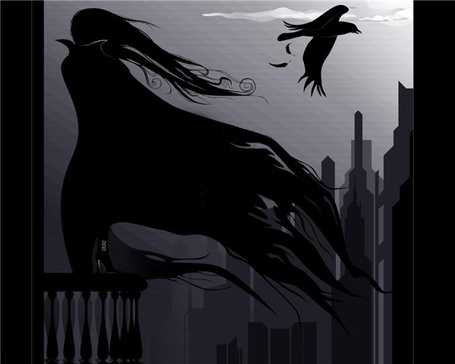 Фото Девушка в черной накидке стоит на балконе,рядом с ней летает черный ворон (© Lola_Weazlik), добавлено: 03.10.2011 22:12