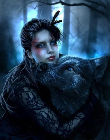 Фото Девушка обнимает волка (© Lola_Weazlik), добавлено: 04.10.2011 10:24