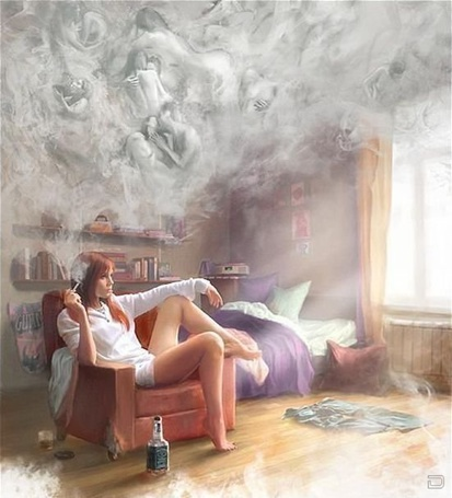 Фото Девушка сидит в прокуренной комнате (© alcatel), добавлено: 07.10.2011 03:52