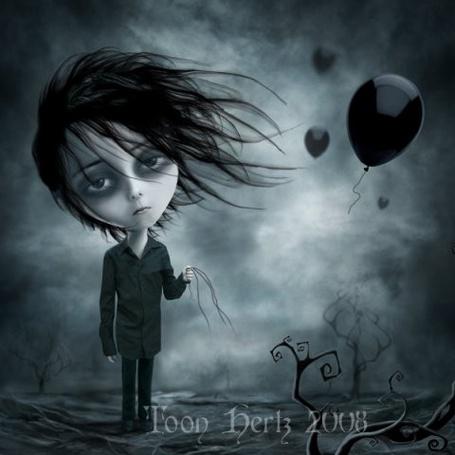 Фото У грустного парня порвались ниточки и улетели шарики ( Художник Toon Hertz)