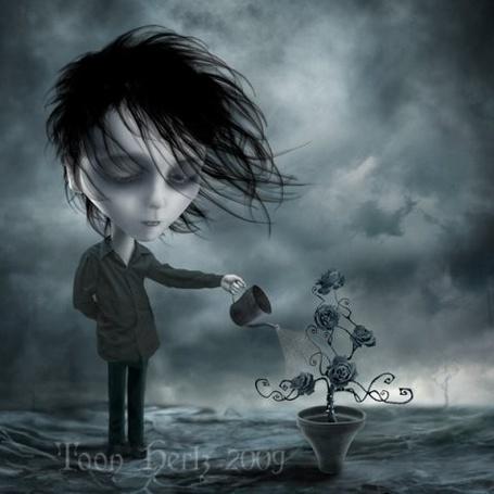 Фото Парень поливает куст черных роз ( Художник Toon Hertz)