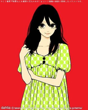 Фото Девушка в забавном зелено-белом платье (Dahlia)