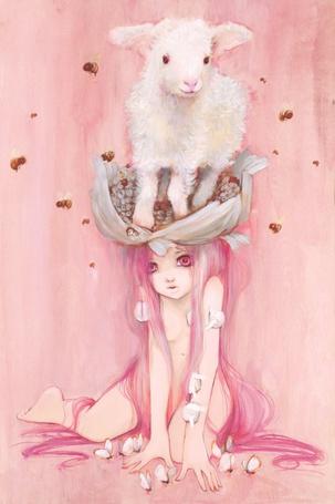 Фото Голая девушка с длинными розовыми волосами и барашком на голове (© Rumpel), добавлено: 12.10.2011 17:33