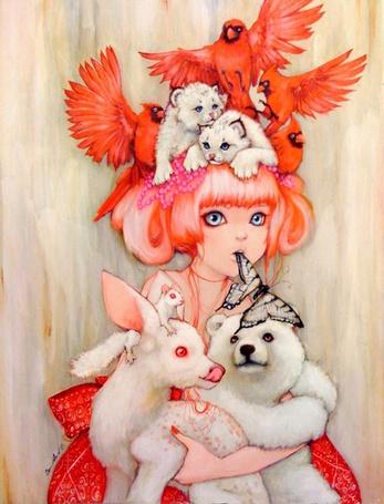 Фото Девушка с белым медвежонком, козленком, детенышами рыси, белкой и красными птицами