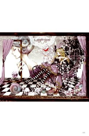 Фото Девушка сидит в фиолетовом кресле в комнате, где на стене нарисована девушка с рогами (purple room) (© Юки-тян), добавлено: 13.10.2011 00:48