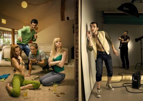 Фото Две соседние квартиры: в одной два находится фотостудия, а в другой два парня и две девушки отлично проводят вечер